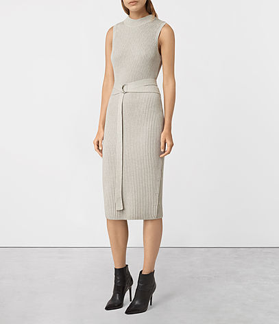 East Dress - length: below the knee; fit: tight; pattern: plain; sleeve style: sleeveless; neckline: high neck; style: bodycon; waist detail: belted waist/tie at waist/drawstring; predominant colour: light grey; occasions: evening; fibres: cotton - 100%; sleeve length: sleeveless; texture group: jersey - clingy; pattern type: fabric; season: a/w 2016; wardrobe: event