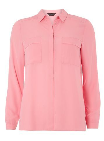 Womens Pink Two Pocket Shirt Pink - neckline: shirt collar/peter pan/zip with opening; pattern: plain; style: shirt; predominant colour: pink; occasions: casual, creative work; length: standard; fibres: polyester/polyamide - 100%; fit: straight cut; sleeve length: long sleeve; sleeve style: standard; texture group: crepes; bust detail: bulky details at bust; pattern type: fabric; season: a/w 2016; wardrobe: highlight