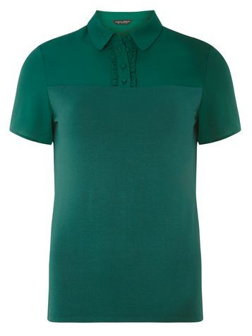 Womens Green Jersey Top Green - neckline: shirt collar/peter pan/zip with opening; pattern: plain; style: polo shirt; predominant colour: dark green; occasions: casual; length: standard; fibres: viscose/rayon - stretch; fit: body skimming; sleeve length: short sleeve; sleeve style: standard; pattern type: fabric; texture group: jersey - stretchy/drapey; season: a/w 2016; wardrobe: highlight