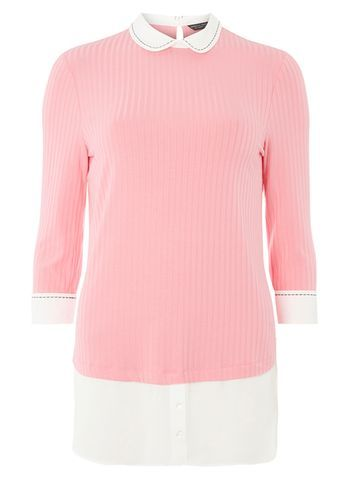 Womens Pink Stitch Shirt Pink - pattern: plain; secondary colour: white; predominant colour: pink; occasions: casual; length: standard; style: top; fibres: viscose/rayon - stretch; fit: body skimming; neckline: no opening/shirt collar/peter pan; sleeve length: 3/4 length; sleeve style: standard; pattern type: fabric; texture group: jersey - stretchy/drapey; multicoloured: multicoloured; season: a/w 2016; wardrobe: highlight