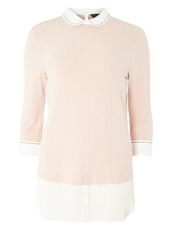 Womens Blush Stitch Shirt Blush - pattern: plain; predominant colour: blush; occasions: casual; length: standard; style: top; fibres: viscose/rayon - stretch; fit: body skimming; neckline: no opening/shirt collar/peter pan; sleeve length: 3/4 length; sleeve style: standard; pattern type: fabric; texture group: jersey - stretchy/drapey; season: a/w 2016