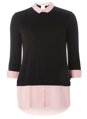 Womens Pink Pinstripe 2 In 1 Top Pink - pattern: plain; secondary colour: blush; predominant colour: black; occasions: casual; length: standard; style: top; fibres: viscose/rayon - stretch; fit: body skimming; neckline: no opening/shirt collar/peter pan; sleeve length: 3/4 length; sleeve style: standard; pattern type: fabric; texture group: jersey - stretchy/drapey; multicoloured: multicoloured; season: a/w 2016