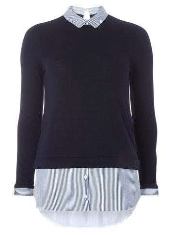 Womens Blue Pinstripe 2 In 1 Top Blue - pattern: plain; secondary colour: pale blue; predominant colour: navy; occasions: casual; length: standard; style: top; fibres: viscose/rayon - stretch; fit: body skimming; neckline: no opening/shirt collar/peter pan; sleeve length: long sleeve; sleeve style: standard; texture group: cotton feel fabrics; pattern type: fabric; season: a/w 2016; wardrobe: highlight