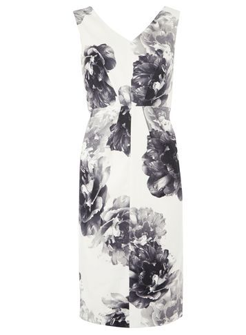Womens Monochrome Floral Pencil Dress Black - style: shift; neckline: v-neck; fit: tailored/fitted; sleeve style: sleeveless; predominant colour: white; secondary colour: black; occasions: evening, occasion; length: on the knee; fibres: polyester/polyamide - 100%; sleeve length: sleeveless; trends: monochrome; pattern type: fabric; pattern size: big & busy; pattern: florals; texture group: woven light midweight; season: a/w 2016; wardrobe: event