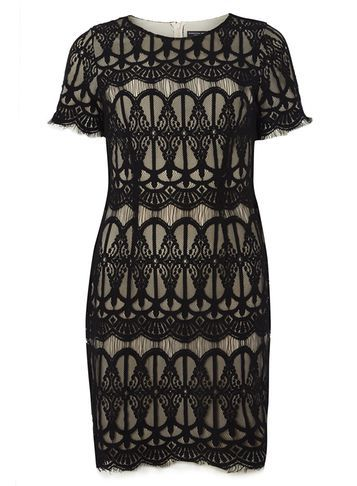 Womens Eyelash Lace Pencil Dress Black - style: shift; length: mid thigh; fit: tailored/fitted; hip detail: draws attention to hips; predominant colour: black; occasions: evening; fibres: cotton - mix; neckline: crew; sleeve length: short sleeve; sleeve style: standard; texture group: lace; pattern type: fabric; pattern size: big & busy; pattern: patterned/print; season: a/w 2016; wardrobe: event