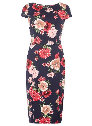 Womens **Tall Floral Printed Pencil Dress Navy - style: shift; length: below the knee; neckline: round neck; sleeve style: capped; fit: tailored/fitted; secondary colour: true red; predominant colour: navy; occasions: evening, occasion; fibres: polyester/polyamide - 100%; sleeve length: short sleeve; pattern type: fabric; pattern size: big & busy; pattern: florals; texture group: woven light midweight; multicoloured: multicoloured; season: a/w 2016