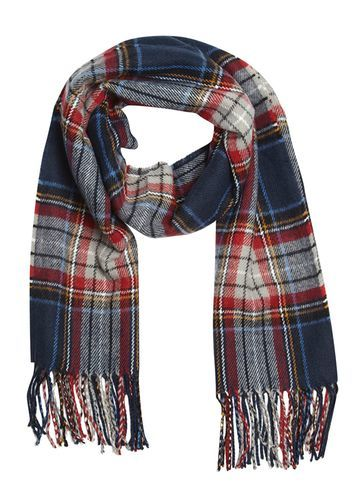Womens Navy Tartan Check Scarf Blue - secondary colour: true red; predominant colour: navy; occasions: casual; type of pattern: standard; style: regular; size: standard; material: fabric; embellishment: fringing; pattern: checked/gingham; multicoloured: multicoloured; season: a/w 2016; wardrobe: highlight
