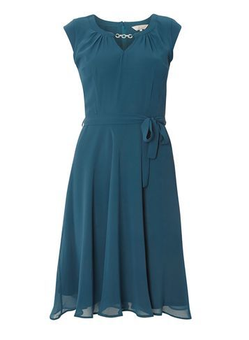 Womens **Billie & Blossom Green Chiffon Belt Dress Green - sleeve style: capped; pattern: plain; waist detail: belted waist/tie at waist/drawstring; predominant colour: teal; occasions: evening, occasion; length: just above the knee; fit: fitted at waist & bust; style: fit & flare; neckline: peep hole neckline; fibres: polyester/polyamide - 100%; hip detail: soft pleats at hip/draping at hip/flared at hip; sleeve length: sleeveless; texture group: sheer fabrics/chiffon/organza etc.; pattern type: fabric; season: a/w 2016; wardrobe: event