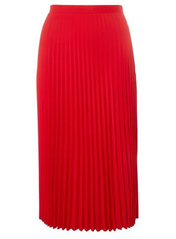Womens Red Satin Pleated Skirt Red - length: below the knee; pattern: plain; fit: body skimming; style: pleated; waist: mid/regular rise; predominant colour: true red; occasions: evening; fibres: polyester/polyamide - 100%; texture group: structured shiny - satin/tafetta/silk etc.; pattern type: fabric; season: a/w 2016; wardrobe: event