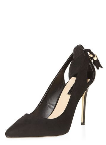 Womens Black 'eloise' Tassel Court Shoes Black - predominant colour: black; occasions: evening, creative work; material: suede; heel: stiletto; toe: pointed toe; style: courts; finish: plain; pattern: plain; embellishment: bow; heel height: very high; season: a/w 2016; wardrobe: highlight