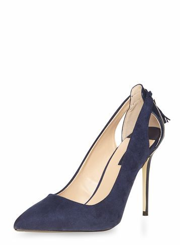 Womens Navy 'eloise' Tassel Court Shoes Blue - predominant colour: navy; occasions: evening, occasion; material: suede; heel: stiletto; toe: pointed toe; style: courts; finish: plain; pattern: plain; heel height: very high; season: a/w 2016; wardrobe: event