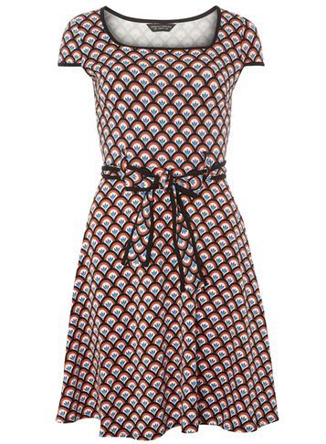 Womens Black Fan Print Tie Dress Black - waist detail: belted waist/tie at waist/drawstring; predominant colour: hot pink; secondary colour: black; occasions: evening; length: on the knee; fit: fitted at waist & bust; style: fit & flare; fibres: cotton - stretch; sleeve length: short sleeve; sleeve style: standard; neckline: medium square neck; pattern type: fabric; pattern: patterned/print; texture group: jersey - stretchy/drapey; multicoloured: multicoloured; season: a/w 2016; wardrobe: event