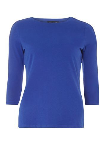 Womens Blue Lace Panel Top Blue - pattern: plain; predominant colour: royal blue; occasions: casual; length: standard; style: top; fibres: cotton - 100%; fit: body skimming; neckline: crew; sleeve length: 3/4 length; sleeve style: standard; pattern type: fabric; texture group: jersey - stretchy/drapey; season: a/w 2016; wardrobe: highlight