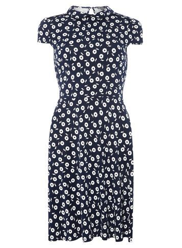 Womens **Tall Navy Ditsy Collar Dress Blue - style: tea dress; sleeve style: capped; waist detail: fitted waist; secondary colour: white; predominant colour: navy; occasions: casual, creative work; length: just above the knee; fit: fitted at waist & bust; fibres: polyester/polyamide - 100%; neckline: no opening/shirt collar/peter pan; hip detail: subtle/flattering hip detail; sleeve length: short sleeve; pattern type: fabric; pattern size: standard; pattern: florals; texture group: woven light midweight; season: a/w 2016; wardrobe: highlight