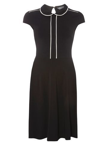 Womens **Tall Black And Ivory Collar Dress Black - sleeve style: capped; pattern: plain; waist detail: fitted waist; secondary colour: white; predominant colour: black; occasions: casual, creative work; length: just above the knee; fit: fitted at waist & bust; style: fit & flare; fibres: polyester/polyamide - stretch; neckline: no opening/shirt collar/peter pan; hip detail: subtle/flattering hip detail; back detail: keyhole/peephole detail at back; sleeve length: short sleeve; pattern type: fabric; texture group: jersey - stretchy/drapey; wardrobe: basic; season: a/w 2016