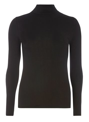 Womens Black High Neck Top Black - pattern: plain; neckline: roll neck; predominant colour: black; occasions: casual; length: standard; style: top; fibres: viscose/rayon - stretch; fit: body skimming; sleeve length: long sleeve; sleeve style: standard; pattern type: fabric; texture group: jersey - stretchy/drapey; season: a/w 2016