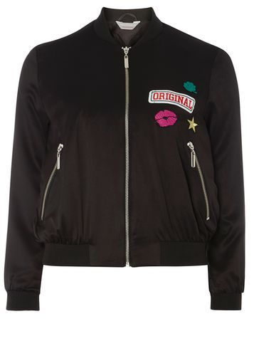 Womens Petite Badge Motif Bomber Jacket Black - collar: round collar/collarless; style: bomber; predominant colour: black; occasions: casual, creative work; length: standard; fit: straight cut (boxy); fibres: polyester/polyamide - 100%; sleeve length: long sleeve; sleeve style: standard; collar break: high; pattern type: fabric; pattern: patterned/print; texture group: other - light to midweight; embellishment: embroidered; multicoloured: multicoloured; season: a/w 2016; wardrobe: highlight