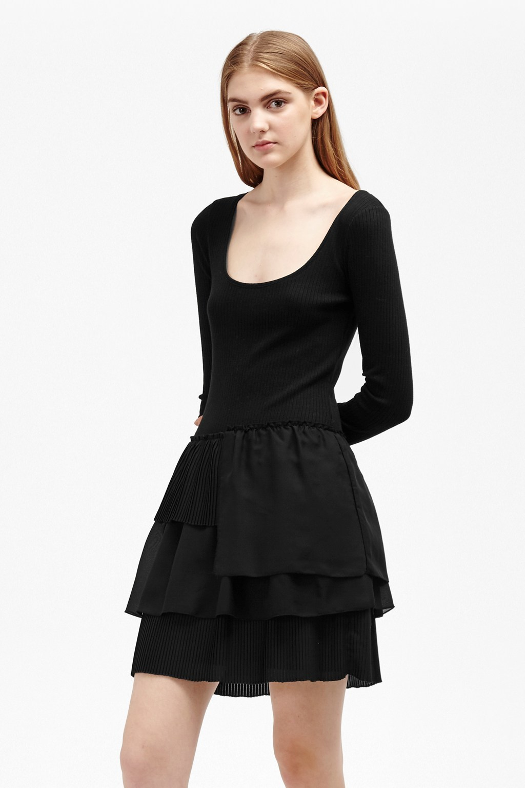 Tommy Rib Layer Dress Black - length: mid thigh; pattern: plain; predominant colour: black; occasions: evening; fit: fitted at waist & bust; style: fit & flare; neckline: scoop; fibres: cotton - mix; sleeve length: long sleeve; sleeve style: standard; hip detail: ruffles/tiers/tie detail at hip; pattern type: fabric; texture group: jersey - stretchy/drapey; season: a/w 2016