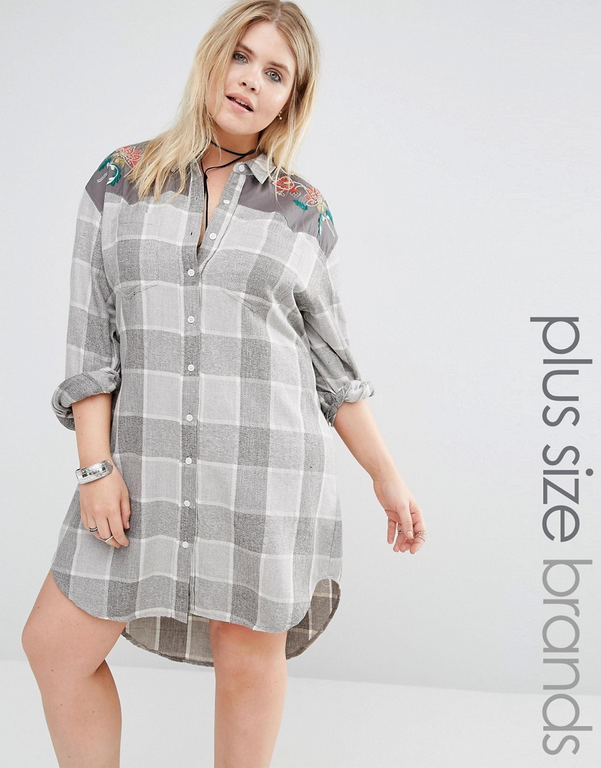 Long Oversized Check Shirt With Embroidery Cream - neckline: shirt collar/peter pan/zip with opening; pattern: checked/gingham; style: shirt; predominant colour: light grey; occasions: casual; fibres: cotton - 100%; fit: body skimming; length: mid thigh; sleeve length: long sleeve; sleeve style: standard; texture group: cotton feel fabrics; pattern type: fabric; season: a/w 2016; wardrobe: highlight
