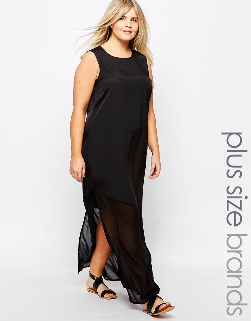 Sleeveless Sheer Hem Maxi Dress Black - pattern: plain; sleeve style: sleeveless; style: maxi dress; length: ankle length; hip detail: draws attention to hips; predominant colour: black; occasions: evening; fit: straight cut; fibres: polyester/polyamide - 100%; neckline: crew; sleeve length: sleeveless; texture group: silky - light; pattern type: fabric; season: a/w 2016; wardrobe: event