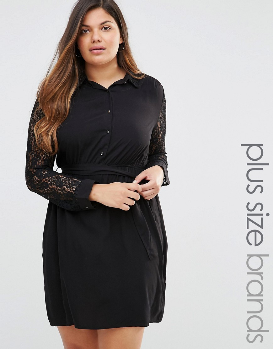Plus Shirt Dress With Lace Sleeves Black - style: shirt; neckline: shirt collar/peter pan/zip with opening; pattern: plain; waist detail: belted waist/tie at waist/drawstring; predominant colour: black; occasions: evening; length: just above the knee; fit: body skimming; fibres: polyester/polyamide - 100%; sleeve length: long sleeve; sleeve style: standard; texture group: lace; pattern type: fabric; embellishment: lace; season: a/w 2016; wardrobe: event