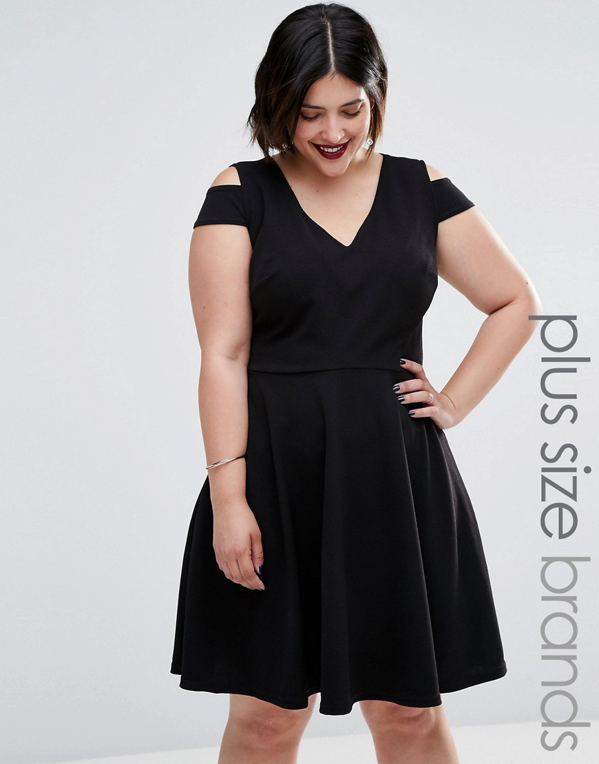 Plus Skater Dress With Cold Shoulder Black - neckline: v-neck; pattern: plain; predominant colour: black; occasions: evening; length: just above the knee; fit: fitted at waist & bust; style: fit & flare; fibres: polyester/polyamide - stretch; shoulder detail: cut out shoulder; sleeve length: short sleeve; sleeve style: standard; pattern type: fabric; texture group: jersey - stretchy/drapey; season: a/w 2016; wardrobe: event