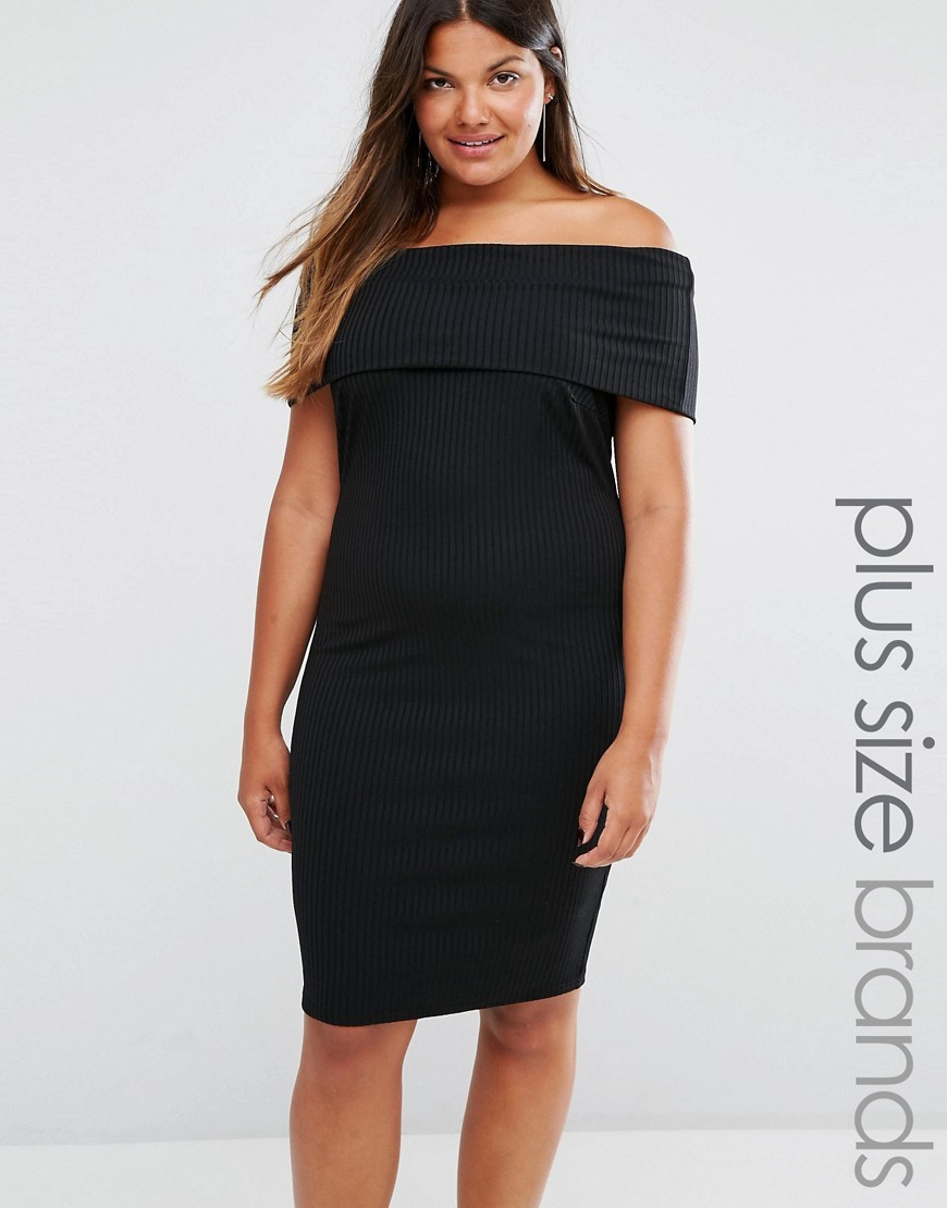 Plus Bardot Midi Dress In Rib Black - style: shift; neckline: off the shoulder; fit: tight; pattern: plain; predominant colour: black; occasions: evening; length: on the knee; fibres: polyester/polyamide - stretch; sleeve length: short sleeve; sleeve style: standard; texture group: jersey - clingy; pattern type: fabric; pattern size: standard; season: a/w 2016; wardrobe: event