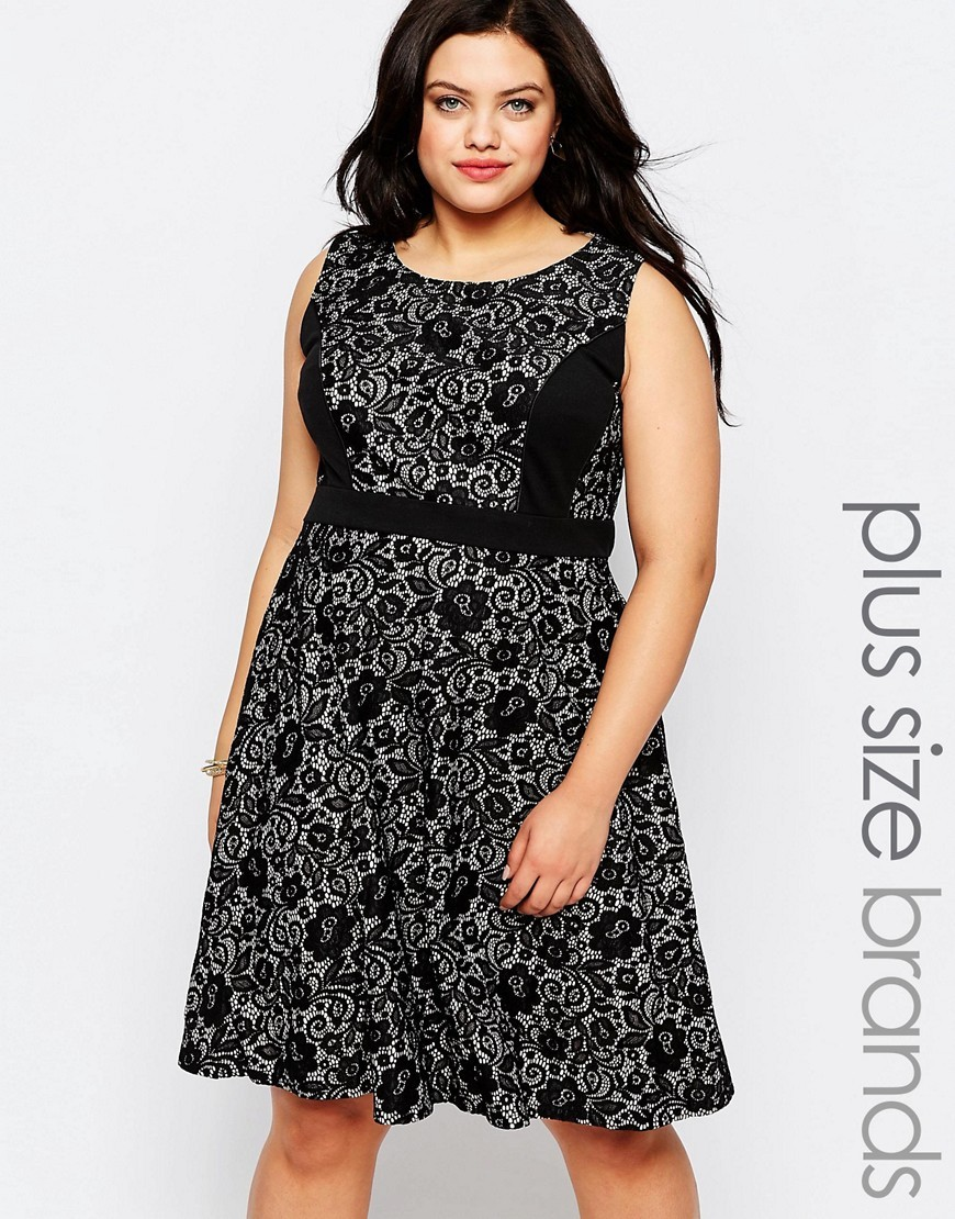 Plus Skater Dress In Lace Black - sleeve style: sleeveless; predominant colour: mid grey; secondary colour: black; occasions: evening; length: just above the knee; fit: fitted at waist & bust; style: fit & flare; fibres: polyester/polyamide - 100%; neckline: crew; sleeve length: sleeveless; pattern type: fabric; pattern size: big & busy; pattern: florals; texture group: jersey - stretchy/drapey; multicoloured: multicoloured; season: a/w 2016