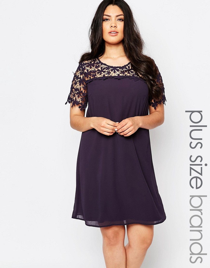 Plus Swing Dress With Lace Top Charcoal - style: trapeze; fit: loose; pattern: plain; bust detail: sheer at bust; predominant colour: charcoal; occasions: evening; length: just above the knee; fibres: polyester/polyamide - 100%; neckline: crew; sleeve length: short sleeve; sleeve style: standard; pattern type: fabric; texture group: jersey - stretchy/drapey; embellishment: lace; shoulder detail: sheer at shoulder; season: a/w 2016; wardrobe: event