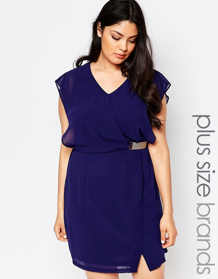 Plus Wrap Dress With Buckle Deatil Navy - style: faux wrap/wrap; length: mid thigh; neckline: v-neck; sleeve style: capped; fit: fitted at waist; pattern: plain; waist detail: belted waist/tie at waist/drawstring; predominant colour: navy; secondary colour: gold; occasions: evening, occasion; fibres: polyester/polyamide - 100%; sleeve length: short sleeve; texture group: sheer fabrics/chiffon/organza etc.; pattern type: fabric; season: a/w 2016; wardrobe: event