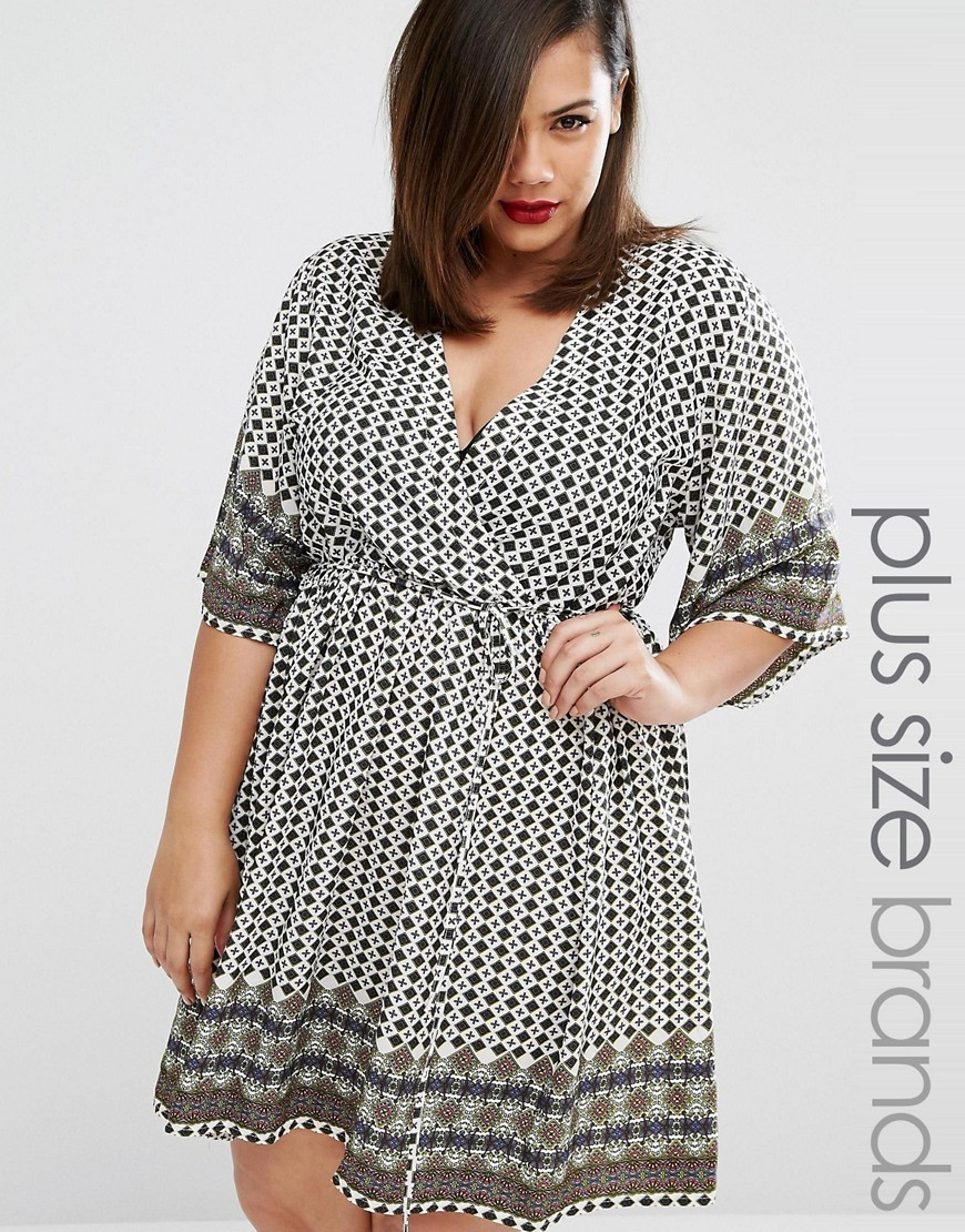 Kimono Sleeve Tea Dress In Tile Print Multi - style: faux wrap/wrap; neckline: v-neck; waist detail: belted waist/tie at waist/drawstring; predominant colour: light grey; secondary colour: black; occasions: evening; length: just above the knee; fit: body skimming; fibres: polyester/polyamide - 100%; sleeve length: 3/4 length; sleeve style: standard; pattern type: fabric; pattern: patterned/print; texture group: jersey - stretchy/drapey; multicoloured: multicoloured; season: a/w 2016
