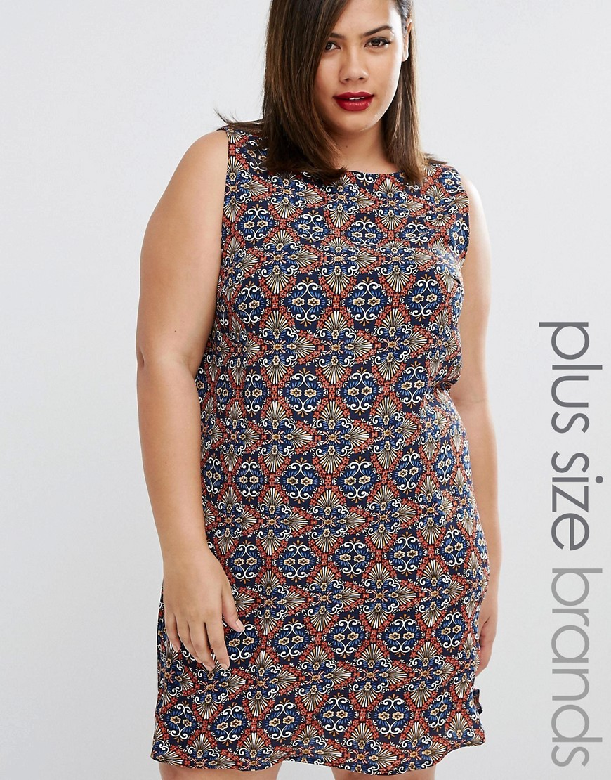 Printed Shift Dress Multi - style: shift; sleeve style: sleeveless; secondary colour: navy; predominant colour: tan; occasions: casual; length: just above the knee; fit: body skimming; fibres: polyester/polyamide - 100%; neckline: crew; sleeve length: sleeveless; pattern type: fabric; pattern: patterned/print; texture group: jersey - stretchy/drapey; multicoloured: multicoloured; season: a/w 2016; wardrobe: highlight
