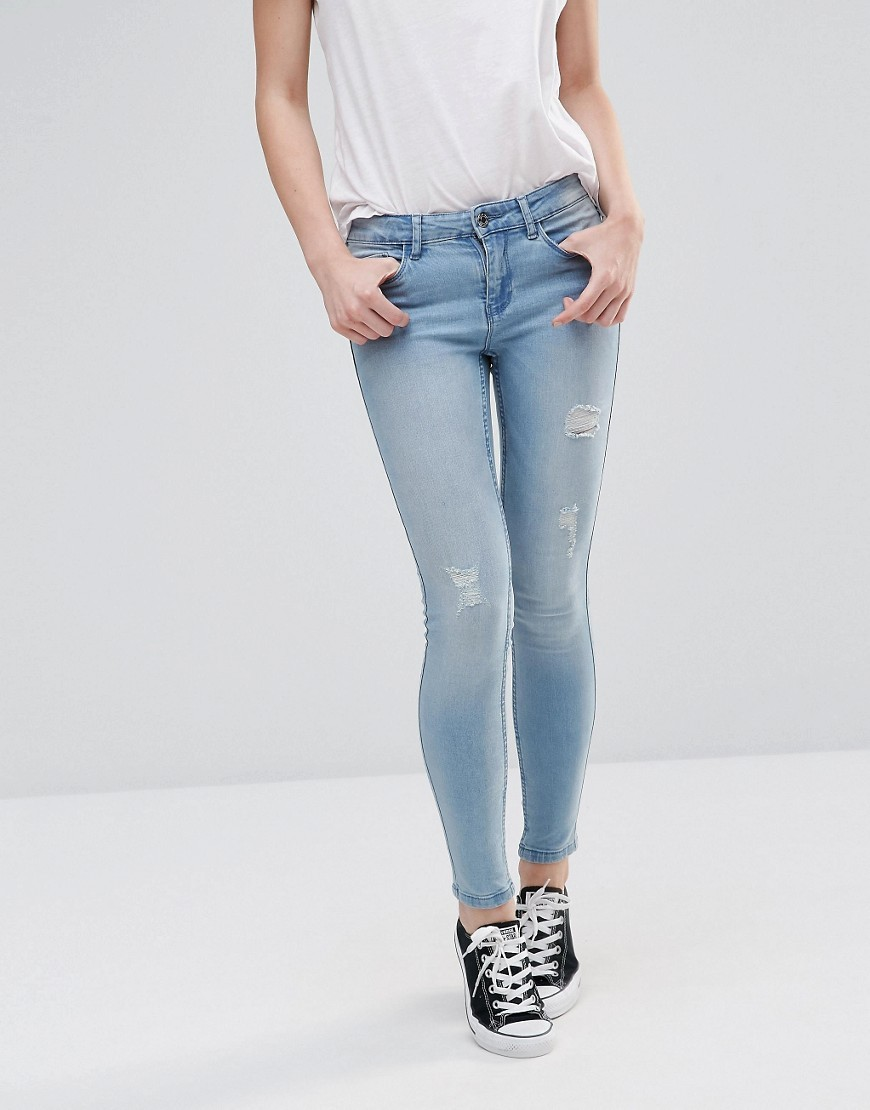 Lucy Ripped Jeans 30'' Light Wash Blue - style: skinny leg; length: standard; pattern: plain; waist: low rise; pocket detail: traditional 5 pocket; predominant colour: pale blue; occasions: casual; fibres: cotton - stretch; jeans detail: washed/faded, rips; texture group: denim; pattern type: fabric; wardrobe: basic; season: a/w 2016