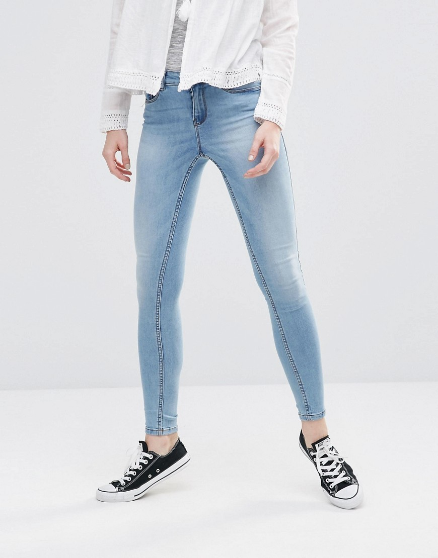 Lucy Super Slim Jeans Light Wash Blue - style: skinny leg; length: standard; pattern: plain; pocket detail: traditional 5 pocket; waist: mid/regular rise; predominant colour: pale blue; occasions: casual; fibres: cotton - stretch; jeans detail: washed/faded; texture group: denim; pattern type: fabric; season: a/w 2016