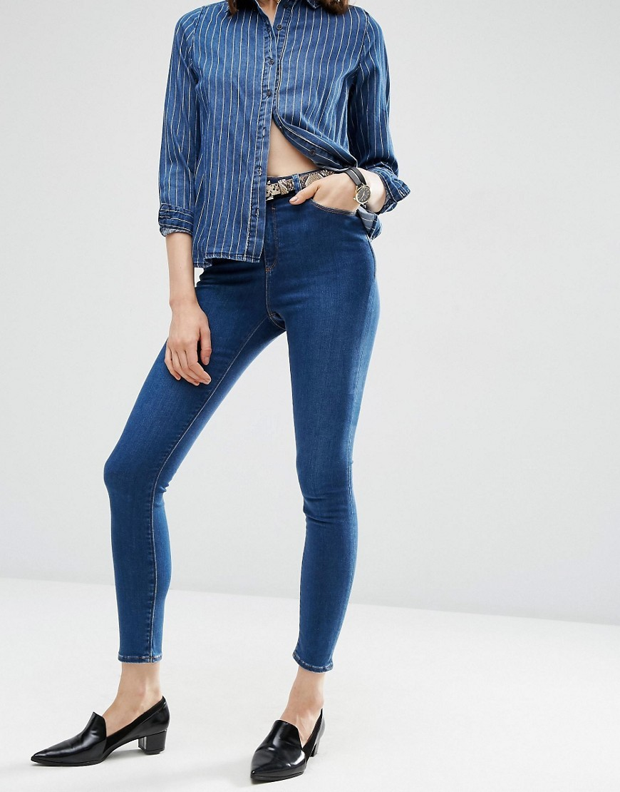 Ridley High Waist Skinny Jeans In Baillie Rich Blue Darkwash Blue - style: skinny leg; pattern: plain; waist: high rise; predominant colour: royal blue; occasions: casual; length: ankle length; fibres: cotton - stretch; texture group: denim; pattern type: fabric; wardrobe: basic; season: a/w 2016