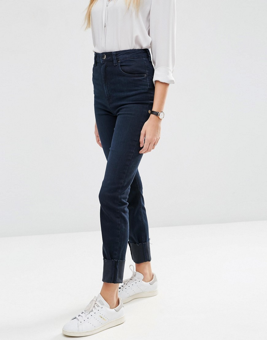 Farleigh High Waist Slim Mom Jeans In Vivienne Dark Wash With Deep Turn Up Darkwash Blue - length: standard; pattern: plain; waist: high rise; pocket detail: traditional 5 pocket; style: tapered; predominant colour: navy; occasions: casual; fibres: cotton - stretch; texture group: denim; pattern type: fabric; wardrobe: basic; season: a/w 2016