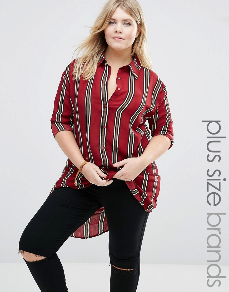 Striped Longline Shirt Burgundy - neckline: shirt collar/peter pan/zip with opening; pattern: vertical stripes; style: shirt; predominant colour: burgundy; secondary colour: mid grey; occasions: casual; fibres: polyester/polyamide - 100%; fit: body skimming; length: mid thigh; sleeve length: long sleeve; sleeve style: standard; texture group: cotton feel fabrics; pattern type: fabric; multicoloured: multicoloured; season: a/w 2016; wardrobe: highlight