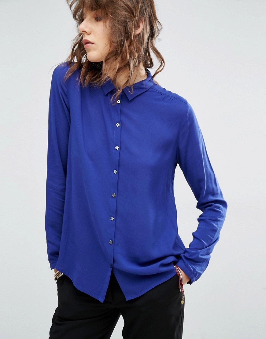 Soft Viscose Shirt With Star Buttons Blue - neckline: shirt collar/peter pan/zip with opening; pattern: plain; style: shirt; predominant colour: royal blue; occasions: casual, work, creative work; length: standard; fibres: viscose/rayon - 100%; fit: body skimming; sleeve length: long sleeve; sleeve style: standard; texture group: sheer fabrics/chiffon/organza etc.; pattern type: fabric; season: a/w 2016