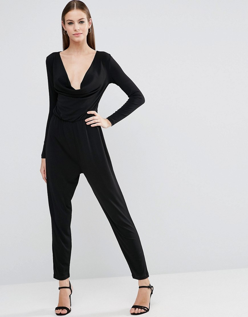 Jersey Jumpsuit With Cowl Neck And Long Sleeves Black - length: standard; neckline: low v-neck; pattern: plain; predominant colour: black; occasions: evening; fit: body skimming; fibres: polyester/polyamide - stretch; sleeve length: long sleeve; sleeve style: standard; style: jumpsuit; pattern type: fabric; texture group: jersey - stretchy/drapey; season: a/w 2016; wardrobe: event