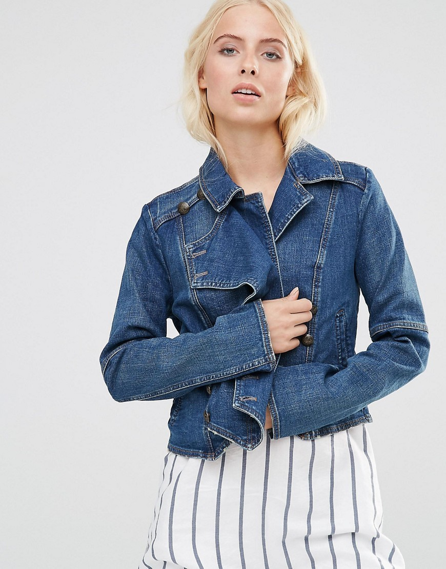 Denim Jacket With Button Detail Vintage Blue - pattern: plain; style: biker; fit: slim fit; collar: standard lapel/rever collar; predominant colour: denim; occasions: casual, creative work; length: standard; fibres: cotton - stretch; sleeve length: long sleeve; sleeve style: standard; texture group: denim; collar break: medium; pattern type: fabric; wardrobe: basic; season: a/w 2016