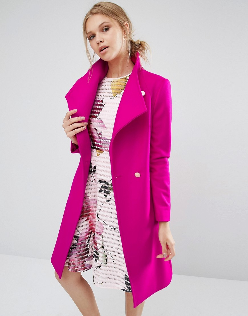 Aurore Long Wrap Collar Coat In Pink Pink - pattern: plain; length: below the bottom; collar: wide lapels; style: wrap around; fit: slim fit; predominant colour: hot pink; occasions: casual; fibres: wool - mix; sleeve length: long sleeve; sleeve style: standard; collar break: medium; pattern type: fabric; texture group: woven bulky/heavy; season: a/w 2016; wardrobe: highlight