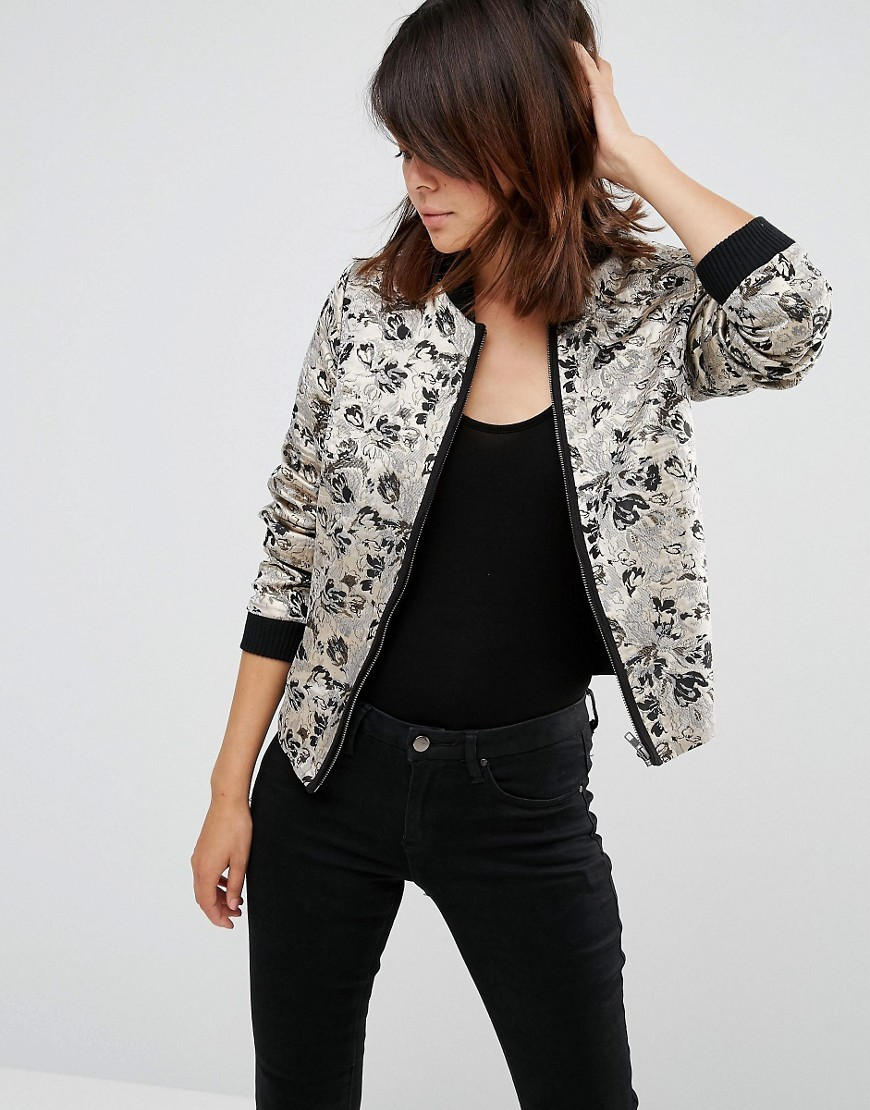 Bomber Jacket In Gold Floral Jacquard Black/ Gold - collar: round collar/collarless; style: bomber; predominant colour: ivory/cream; secondary colour: black; occasions: casual, creative work; length: standard; fit: straight cut (boxy); fibres: polyester/polyamide - 100%; sleeve length: long sleeve; sleeve style: standard; collar break: high; pattern type: fabric; pattern: patterned/print; texture group: brocade/jacquard; embellishment: lace; season: a/w 2016; wardrobe: highlight
