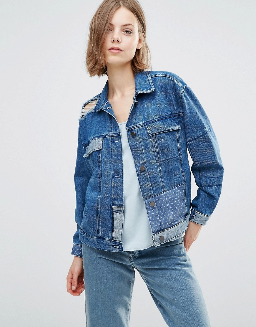 Karin Patchwork Boyfriend Denim Jacket Brand Blue - pattern: plain; fit: loose; style: denim; predominant colour: navy; occasions: casual; length: standard; fibres: cotton - 100%; collar: shirt collar/peter pan/zip with opening; sleeve length: long sleeve; sleeve style: standard; texture group: denim; collar break: high; pattern type: fabric; wardrobe: basic; season: a/w 2016