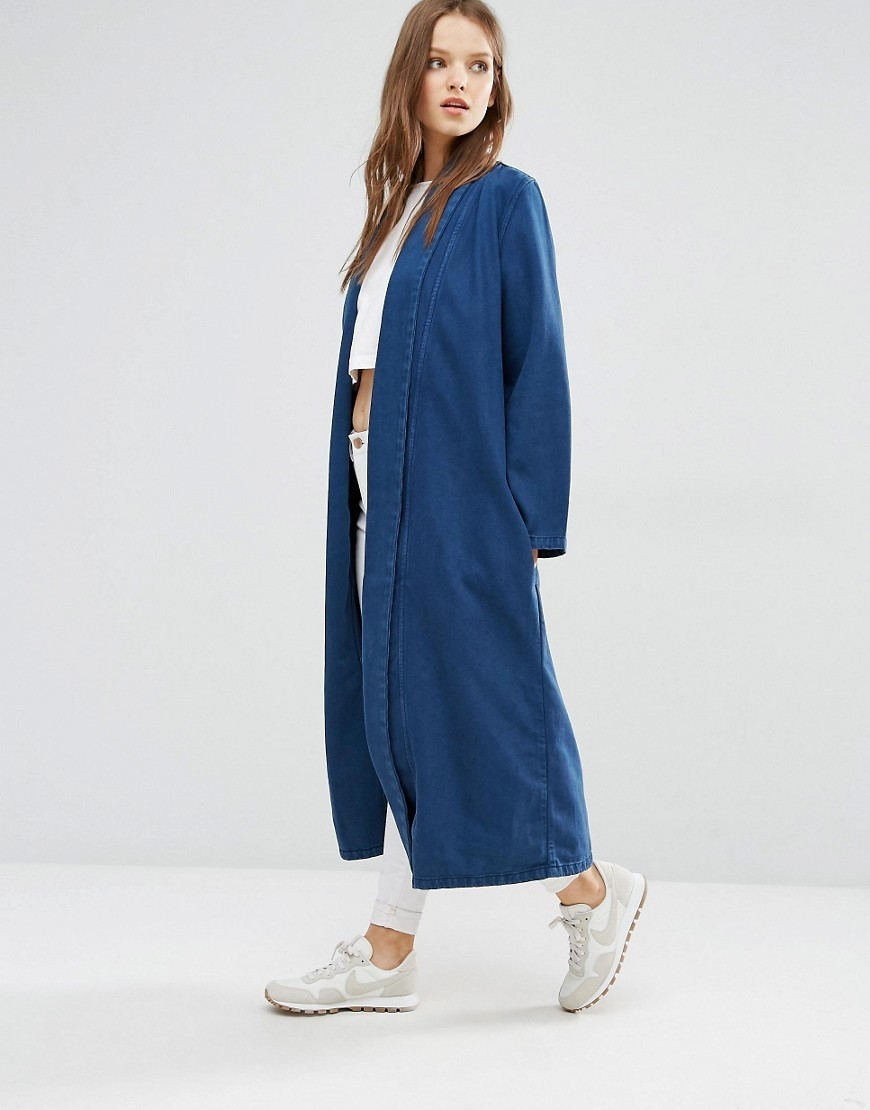 Anja Duster Coat Indigo - pattern: plain; collar: shawl/waterfall; fit: loose; predominant colour: navy; occasions: casual; length: ankle length; fibres: cotton - 100%; sleeve length: long sleeve; sleeve style: standard; texture group: denim; collar break: low/open; pattern type: fabric; style: duster coat; wardrobe: basic; season: a/w 2016
