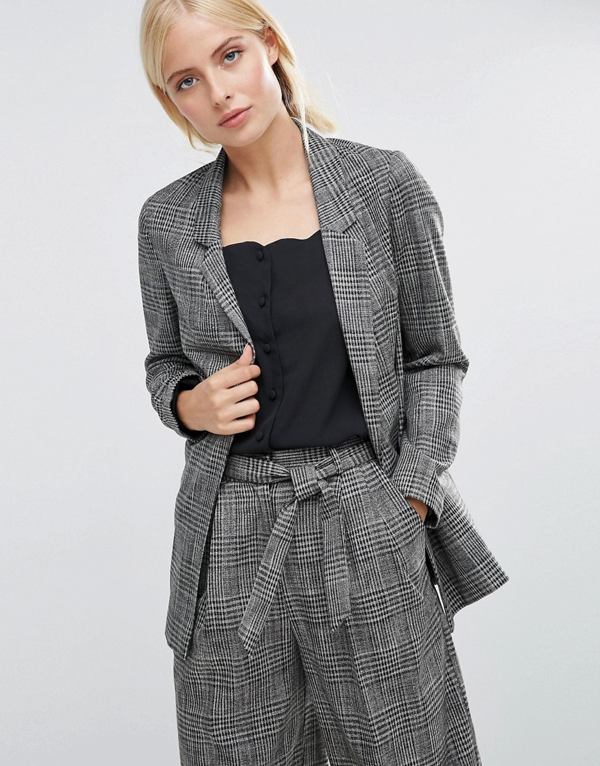 Workwear Blazer In Check Multi - pattern: checked/gingham; style: single breasted blazer; length: below the bottom; collar: standard lapel/rever collar; predominant colour: mid grey; occasions: work, creative work; fit: tailored/fitted; fibres: viscose/rayon - 100%; sleeve length: long sleeve; sleeve style: standard; collar break: medium; pattern type: fabric; texture group: woven light midweight; pattern size: big & busy (top); wardrobe: investment; season: a/w 2016