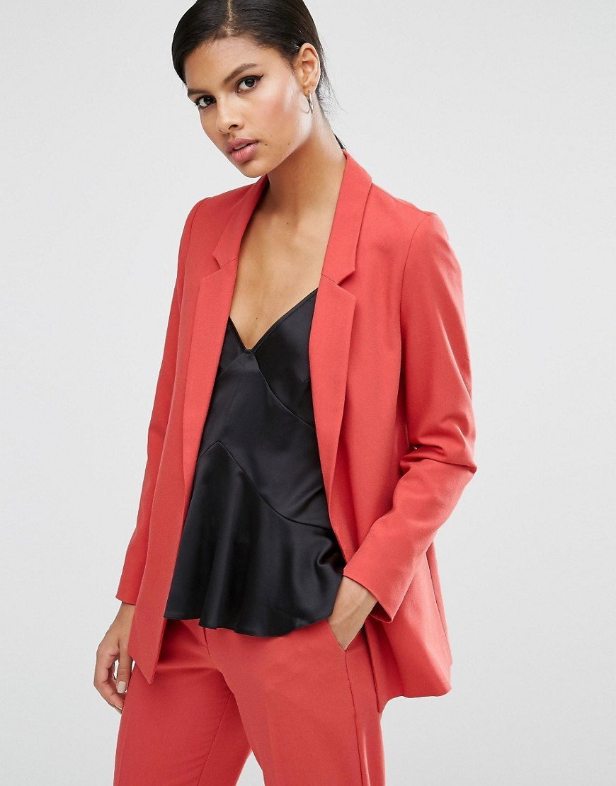 Slim Tailored Jacket In Crepe Rose - pattern: plain; style: single breasted blazer; fit: loose; collar: standard lapel/rever collar; predominant colour: coral; occasions: casual, evening, creative work; length: standard; fibres: polyester/polyamide - mix; sleeve length: long sleeve; sleeve style: standard; texture group: crepes; collar break: medium; pattern type: fabric; season: a/w 2016