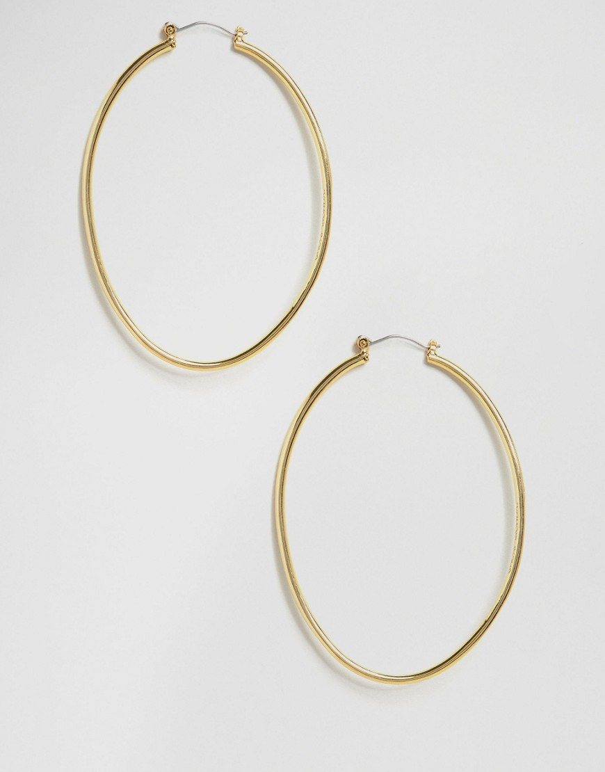 Gold Hoop Earrings Gold - predominant colour: gold; occasions: casual, creative work; style: hoop; length: mid; size: standard; material: chain/metal; fastening: pierced; finish: metallic; embellishment: chain/metal; wardrobe: basic; season: a/w 2016