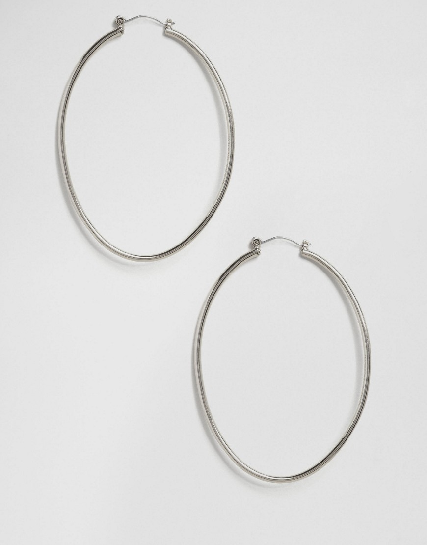 Silver Hoop Earrings Silver - predominant colour: silver; occasions: casual, work, creative work; style: hoop; length: mid; size: standard; material: chain/metal; fastening: pierced; finish: metallic; embellishment: chain/metal; season: a/w 2016