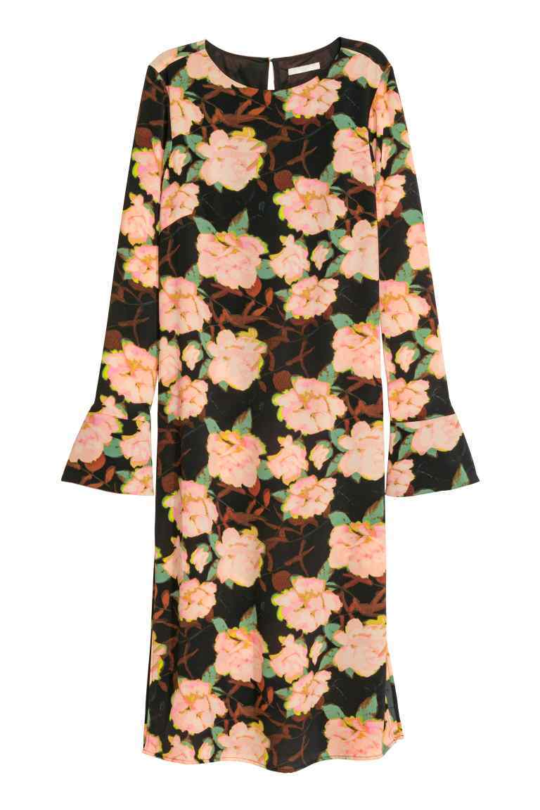 Crêpe Dress - style: shift; neckline: round neck; sleeve style: volant; secondary colour: blush; predominant colour: black; length: on the knee; fit: straight cut; fibres: polyester/polyamide - 100%; sleeve length: long sleeve; pattern type: fabric; pattern: florals; texture group: woven light midweight; occasions: creative work; season: a/w 2016