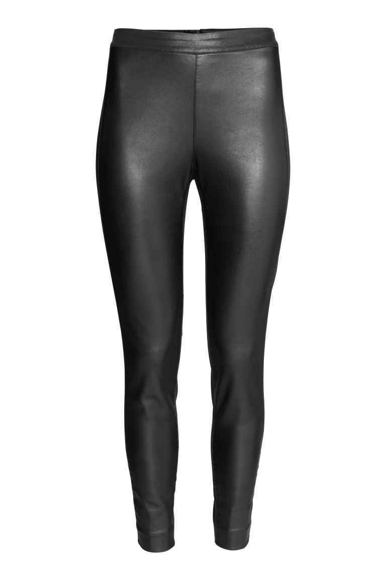 Coated Treggings - length: standard; pattern: plain; style: leggings; waist: mid/regular rise; predominant colour: black; occasions: evening; texture group: leather; fit: skinny/tight leg; pattern type: fabric; fibres: pvc/polyurethene - mix; season: a/w 2016; wardrobe: event